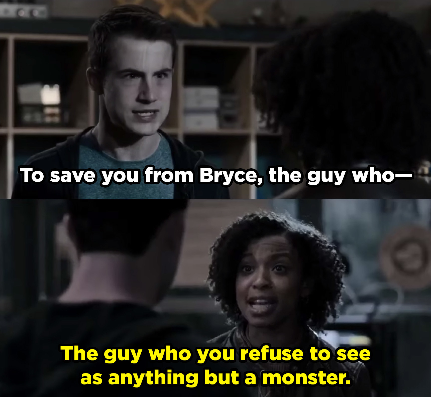 Ani tells Clay that Bryce isn't that bad even though he sexually assaulted a bunch of Clay's friends.