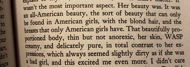 """Text about """"WASP-y"""" beauty being the superior beauty."""