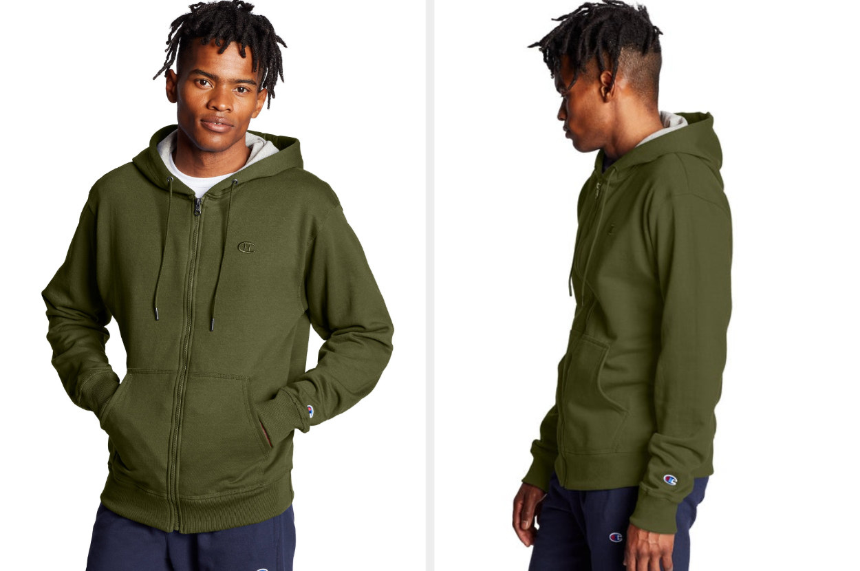 Split image of front and side views of a model wearing a cargo olive green hooded sweatshirt