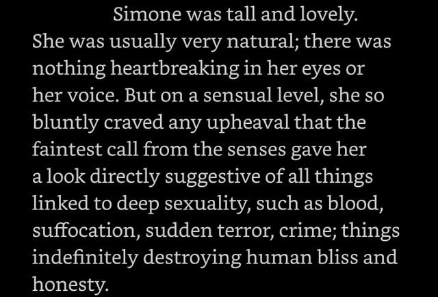Text about a man describing the sexuality of a woman in a creepy way.