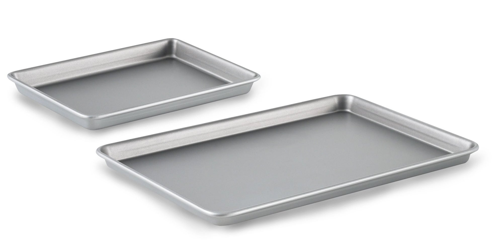 Stainless brownie pan and cookie sheet side by side