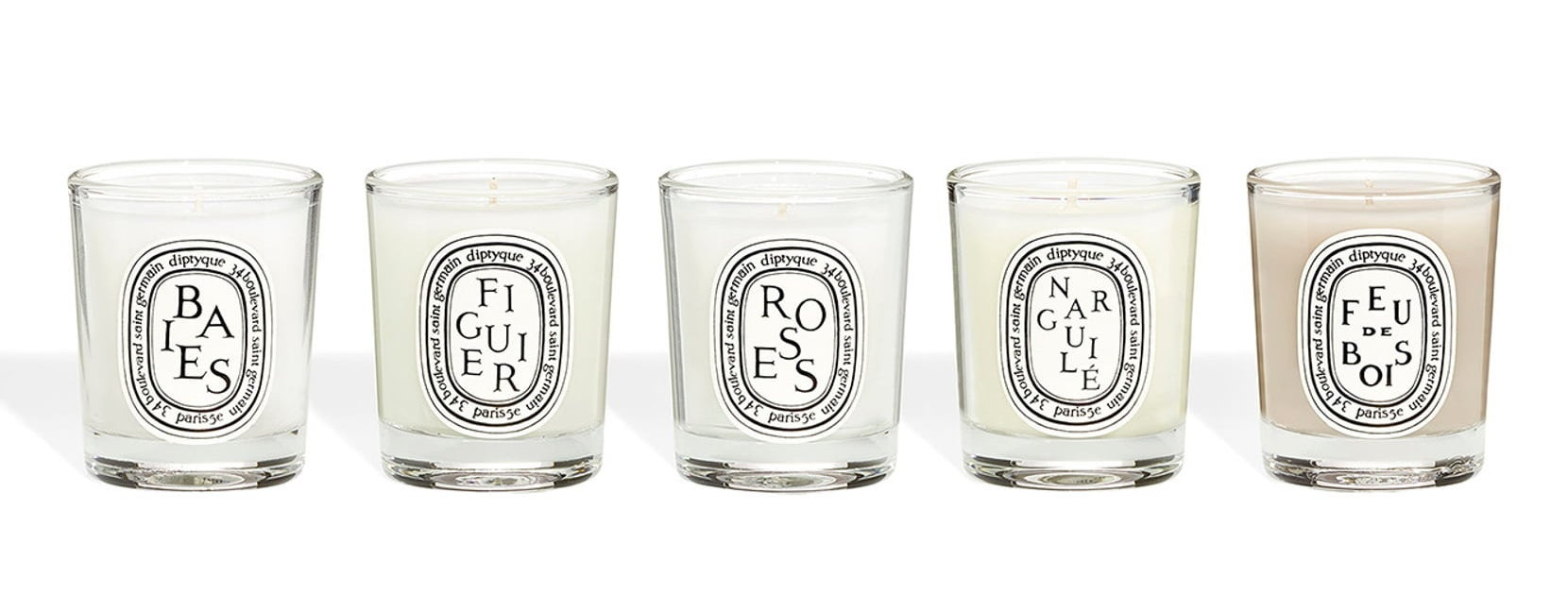 The set of five travel-sized limited edition Diptyque Scented Candles.