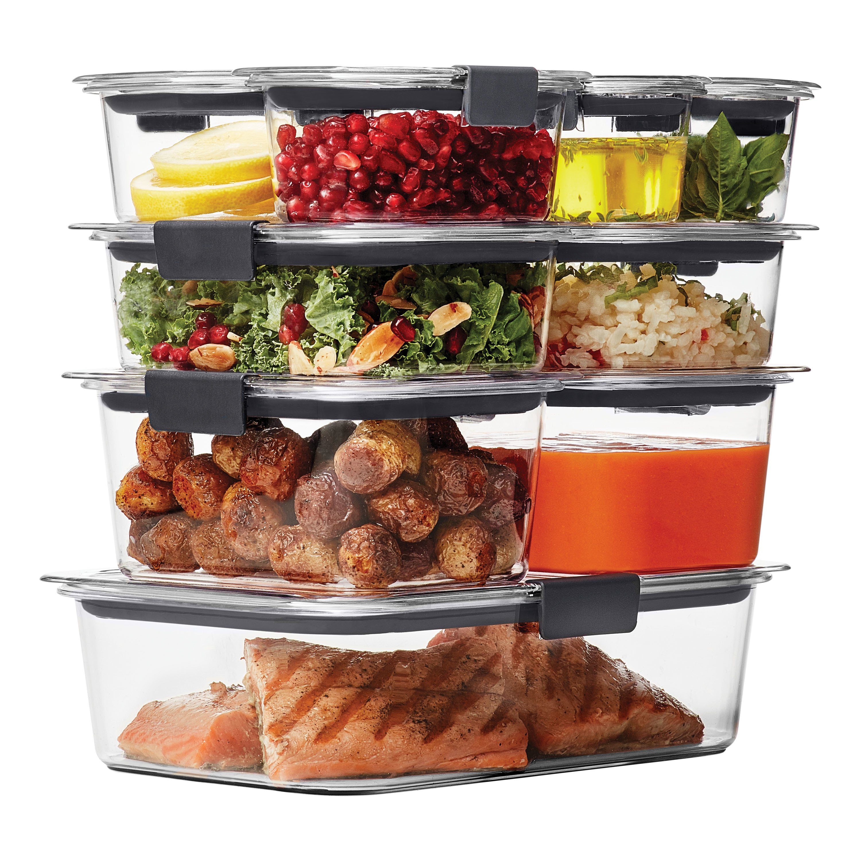 Nine clear food storage containers stacked on top of one another