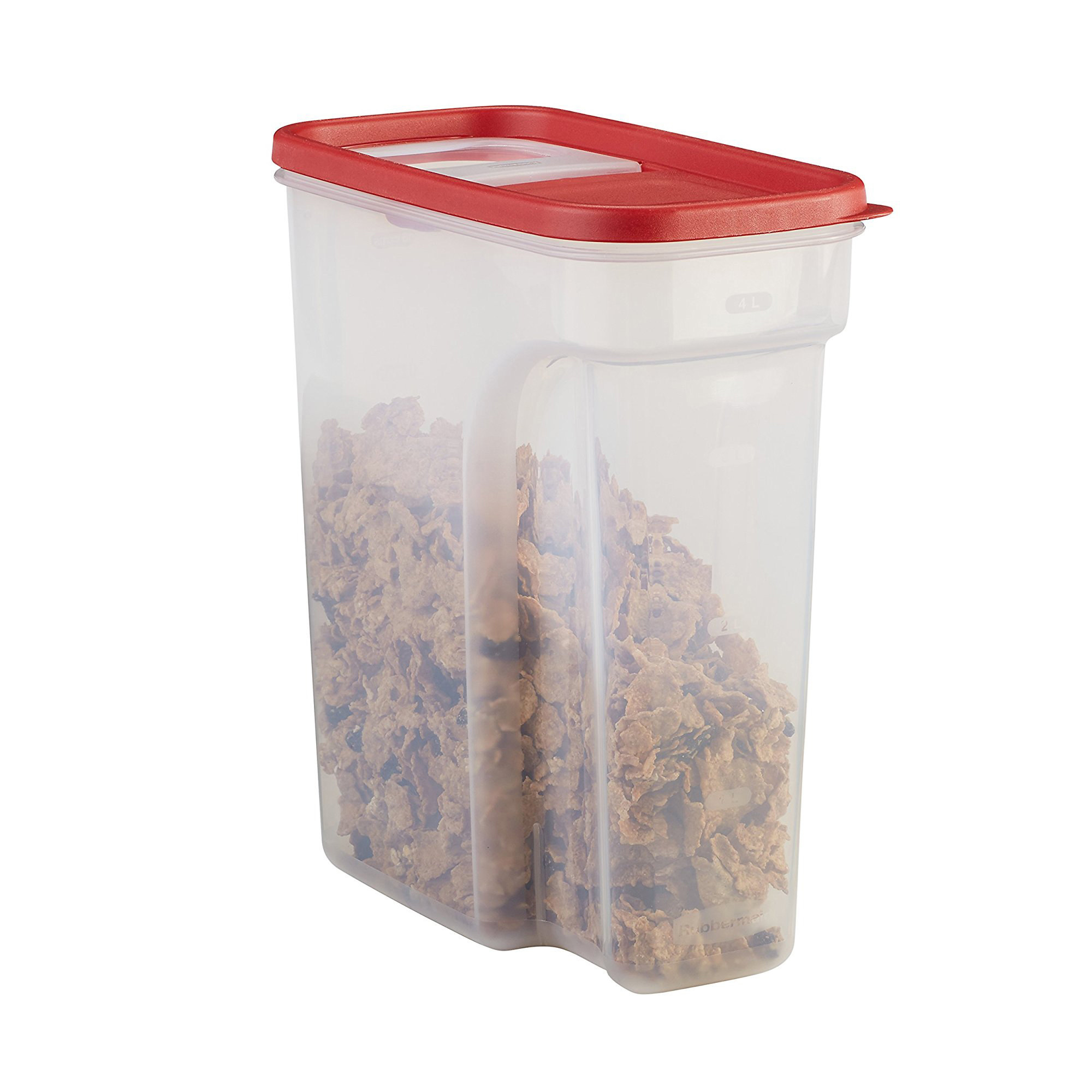 Tall, narrow food storage container with red flip top