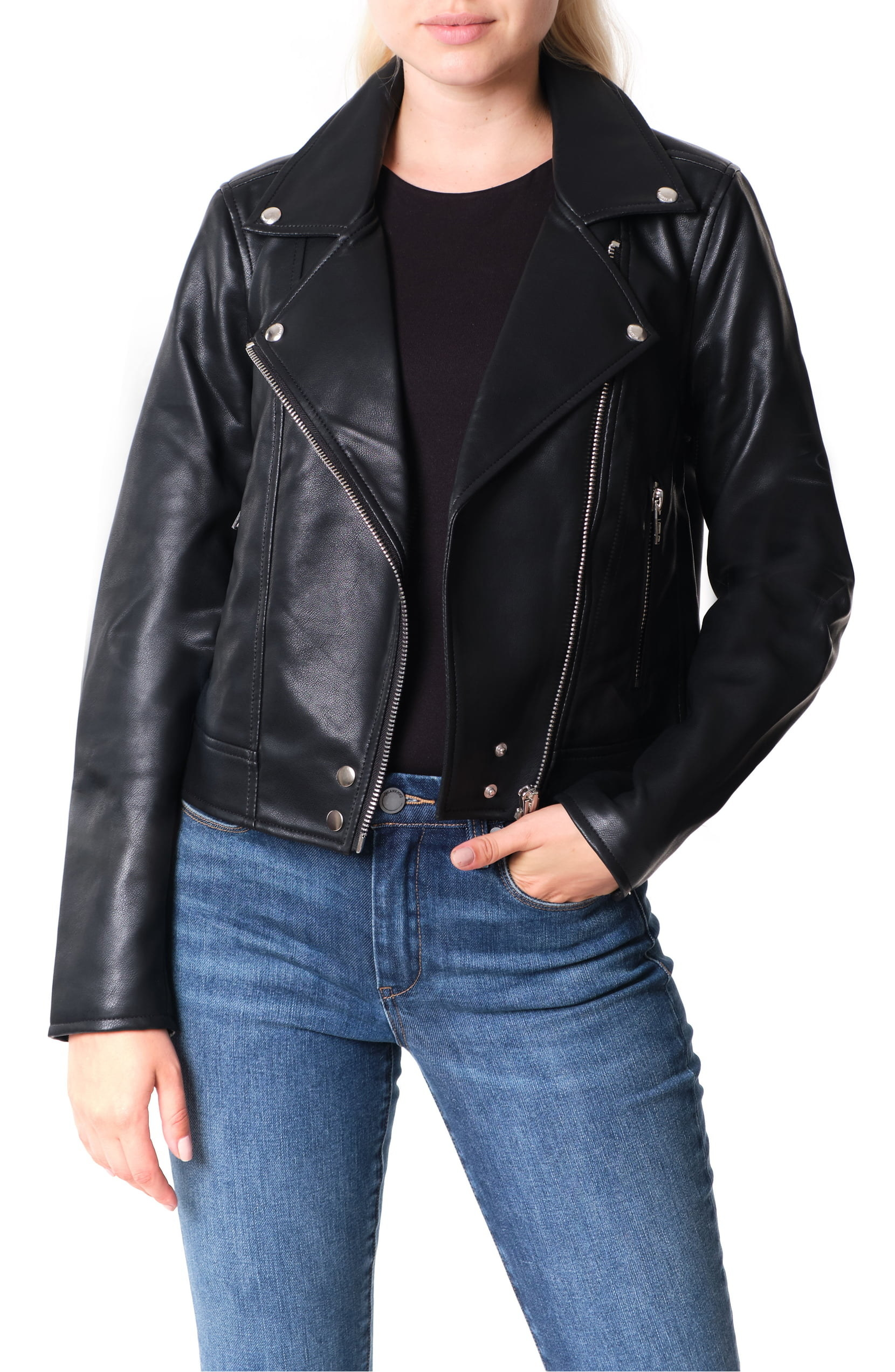 A model wearing the BlankNYC Good Vibes Faux Leather Moto Jacket in black.
