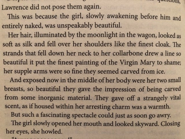 Text about a man describing the appearance of a woman — comparing her to Virgin Mary and inorganic material.