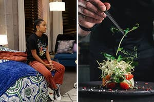 """Zoe from """"Blackish"""" sitting on bed and chef cooking."""