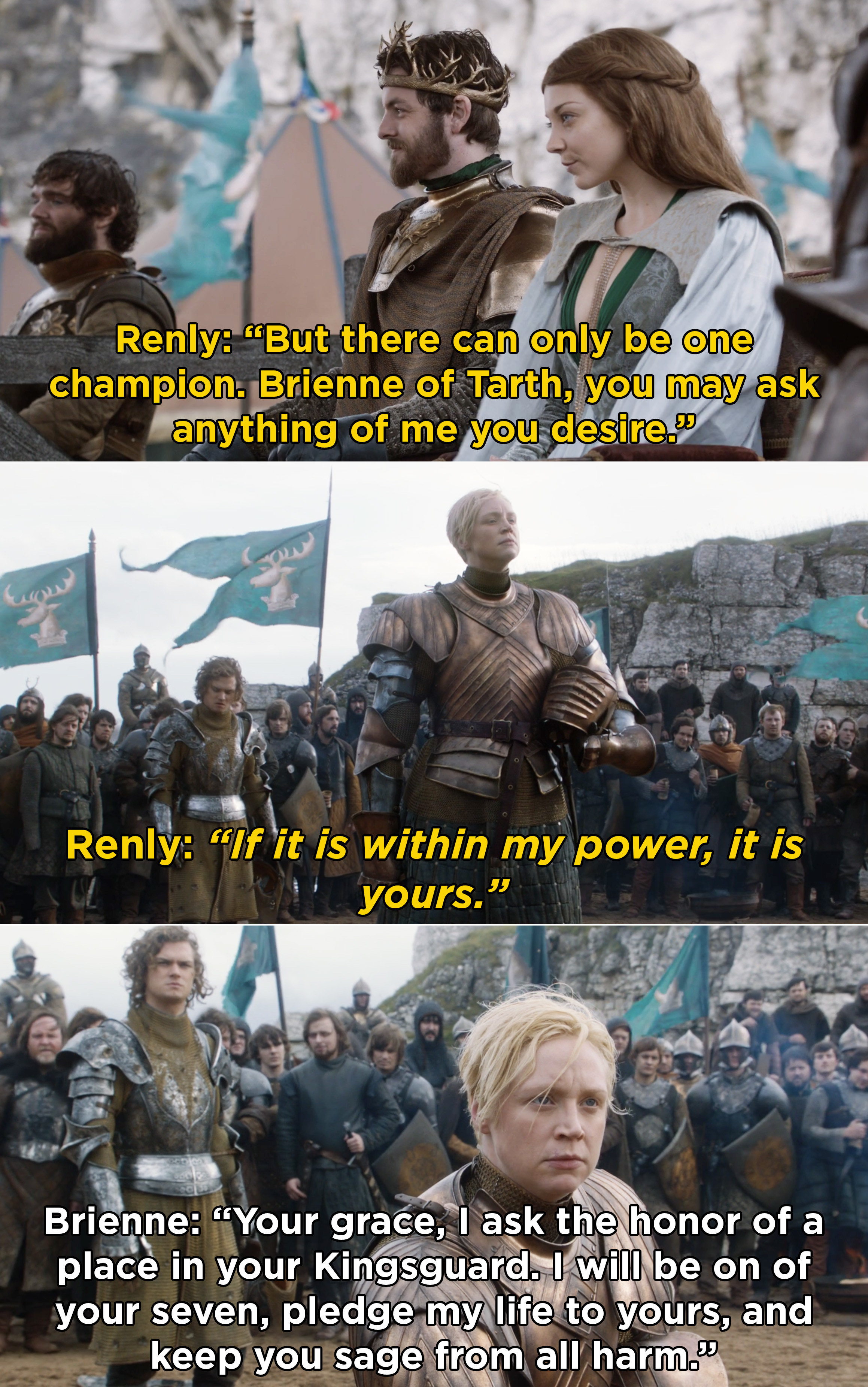 Brienne asking Renly for a place in his Kingsguard