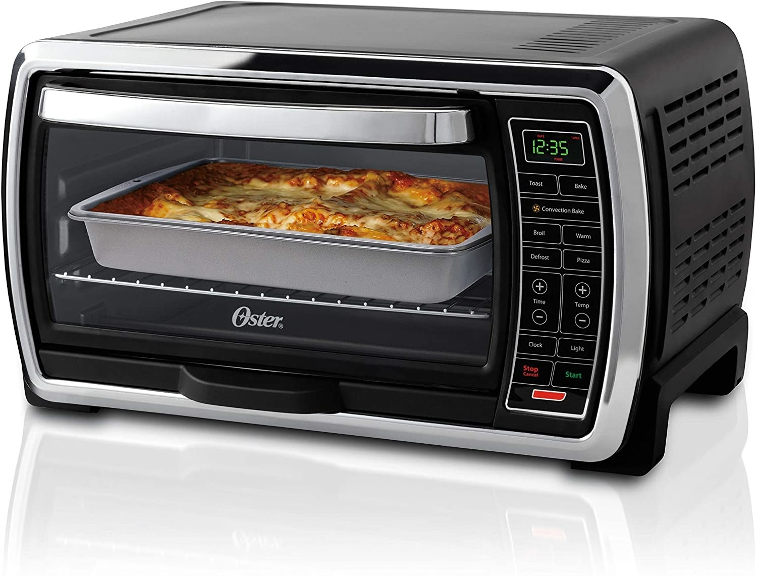 Oster toaster oven with lasagna inside