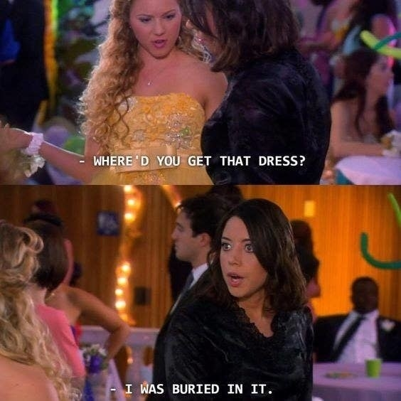 April telling a woman she was buried in the dress she's wearing