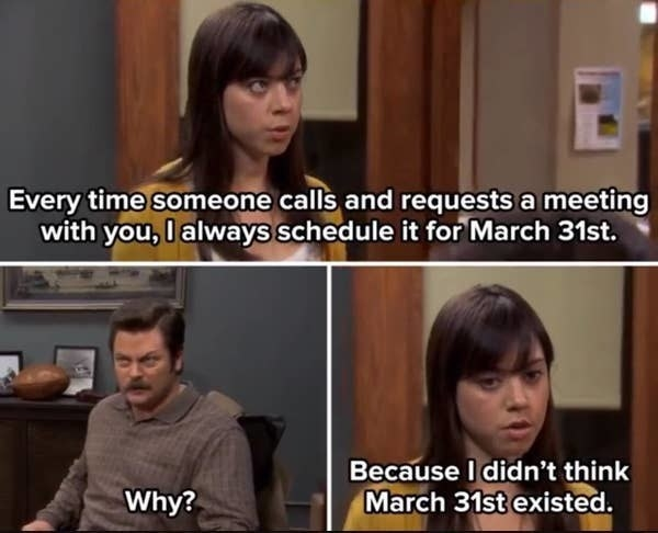 April telling Ron she didn't think March 31st existed