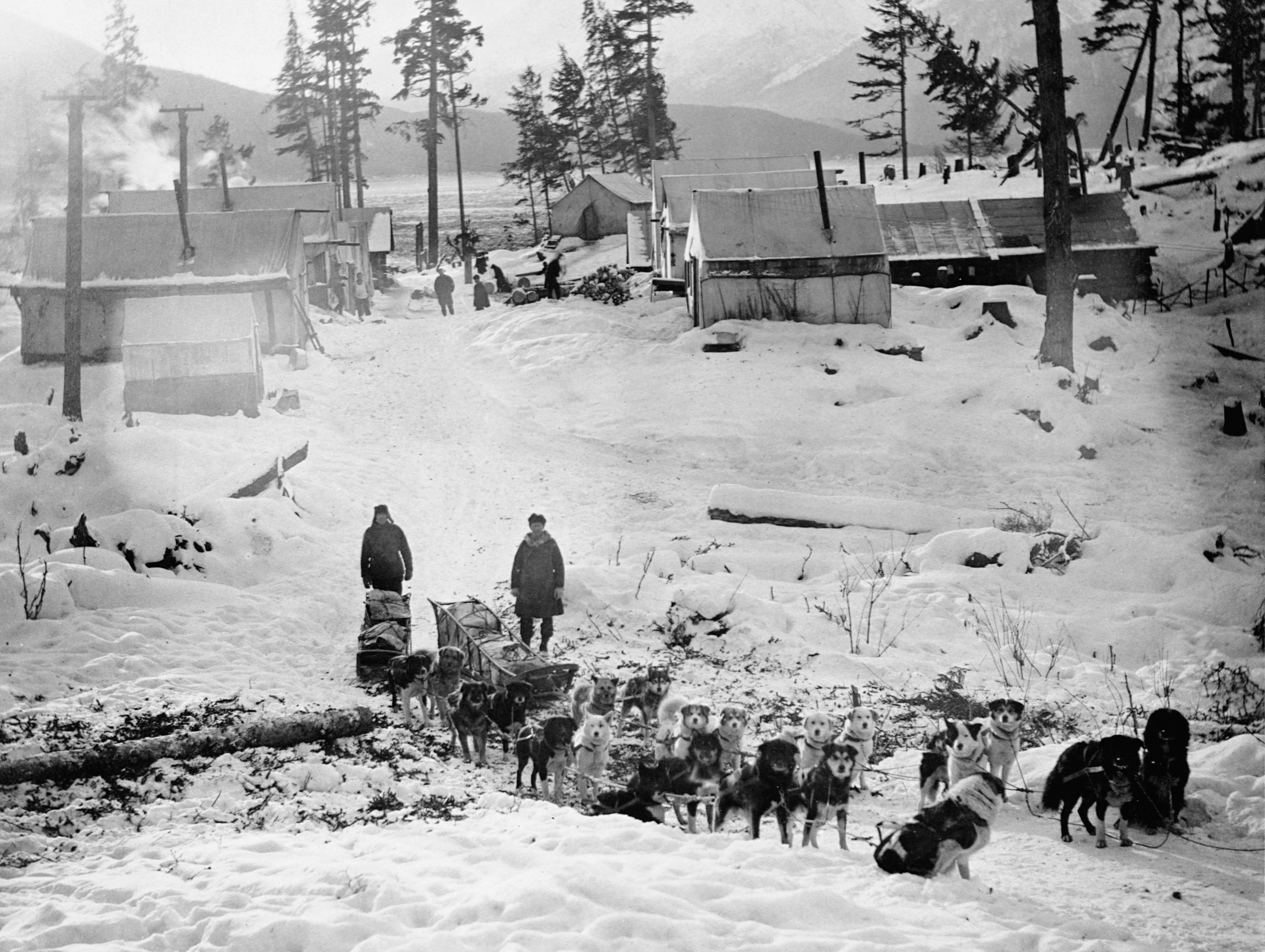 Two dogsled teams and pull carts filled with mail in a snowy village