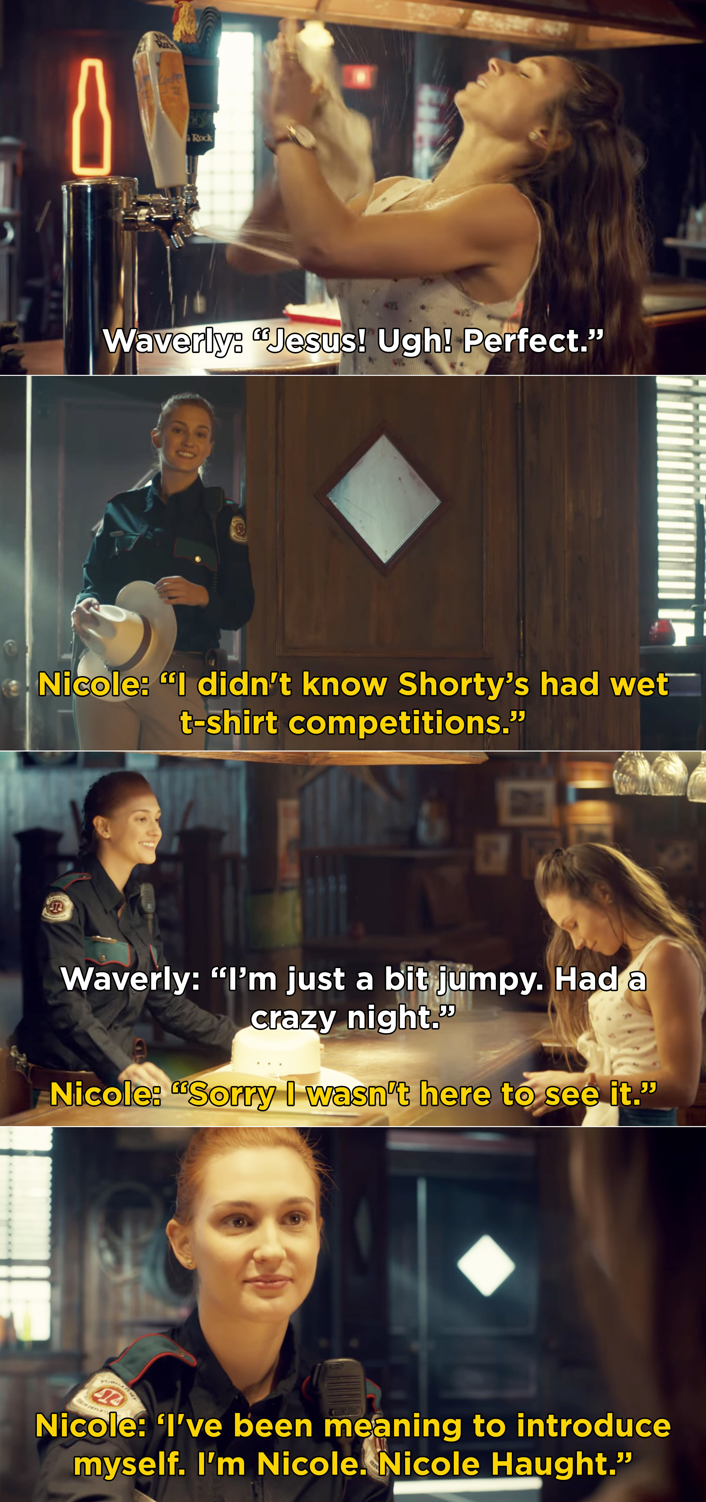 Nicole and Waverly meeting in Shorty's for the first time