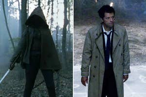 Michonne from The Walking Dead and Castiel from Supernatural
