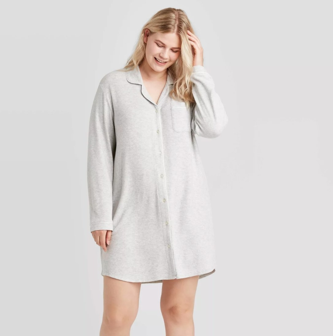 Model wearing the grey nightgown