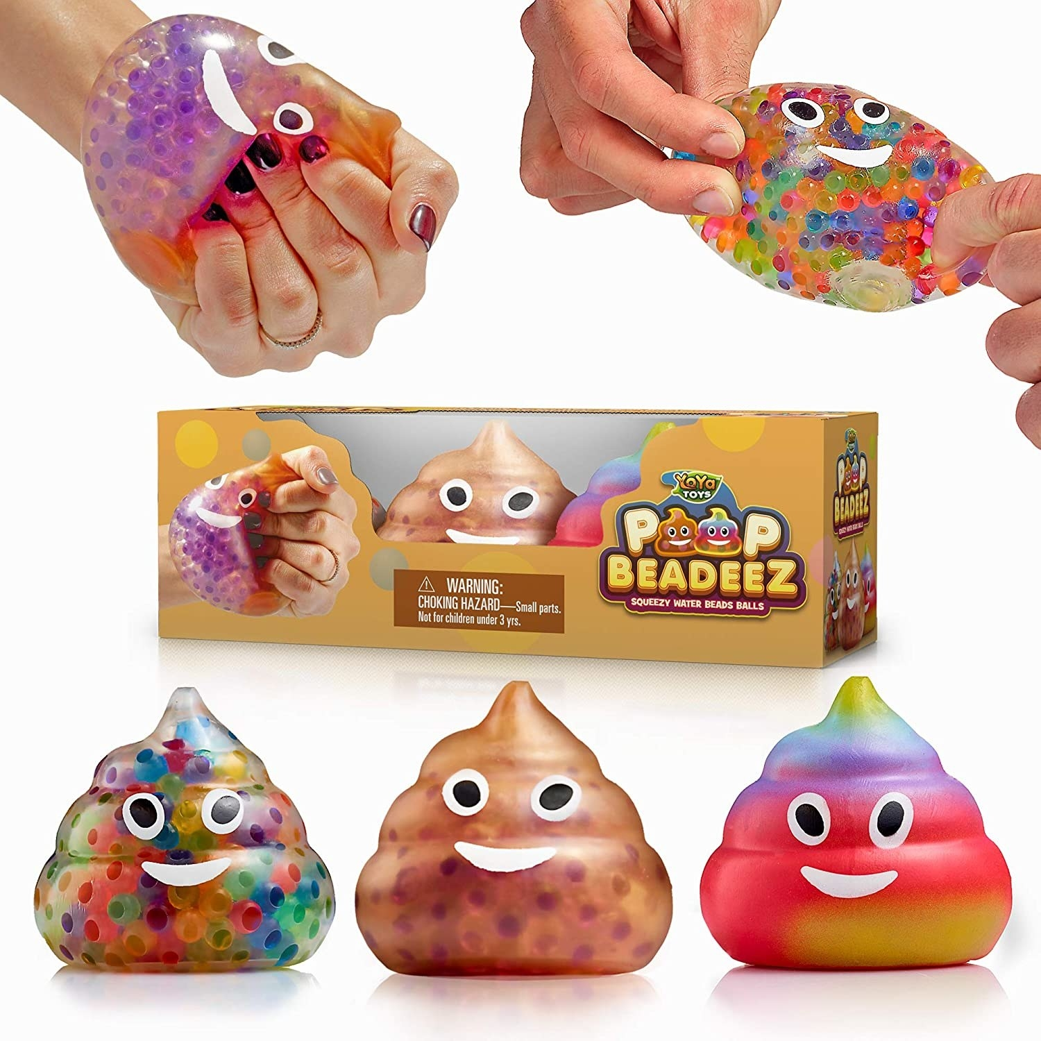 different colored poops with little beads inside