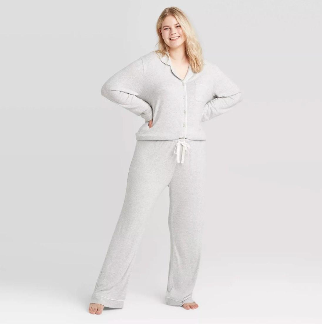 Model wearing the light gray pajamas
