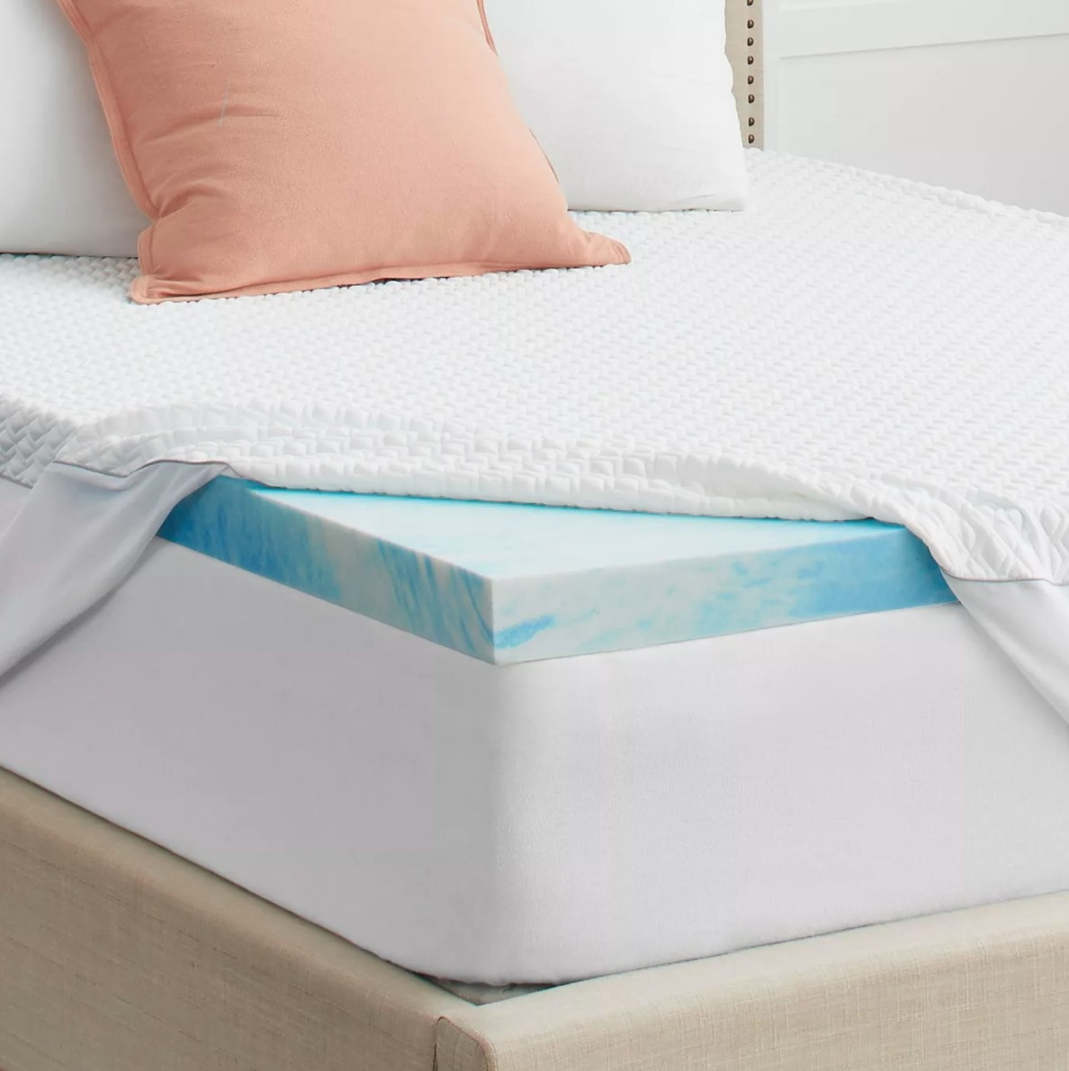 The blue and white marbled mattress topper