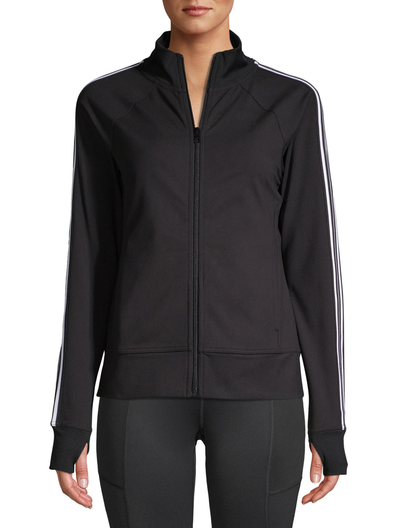 The sporty zip hoodie with striped sleeves and thumb holes