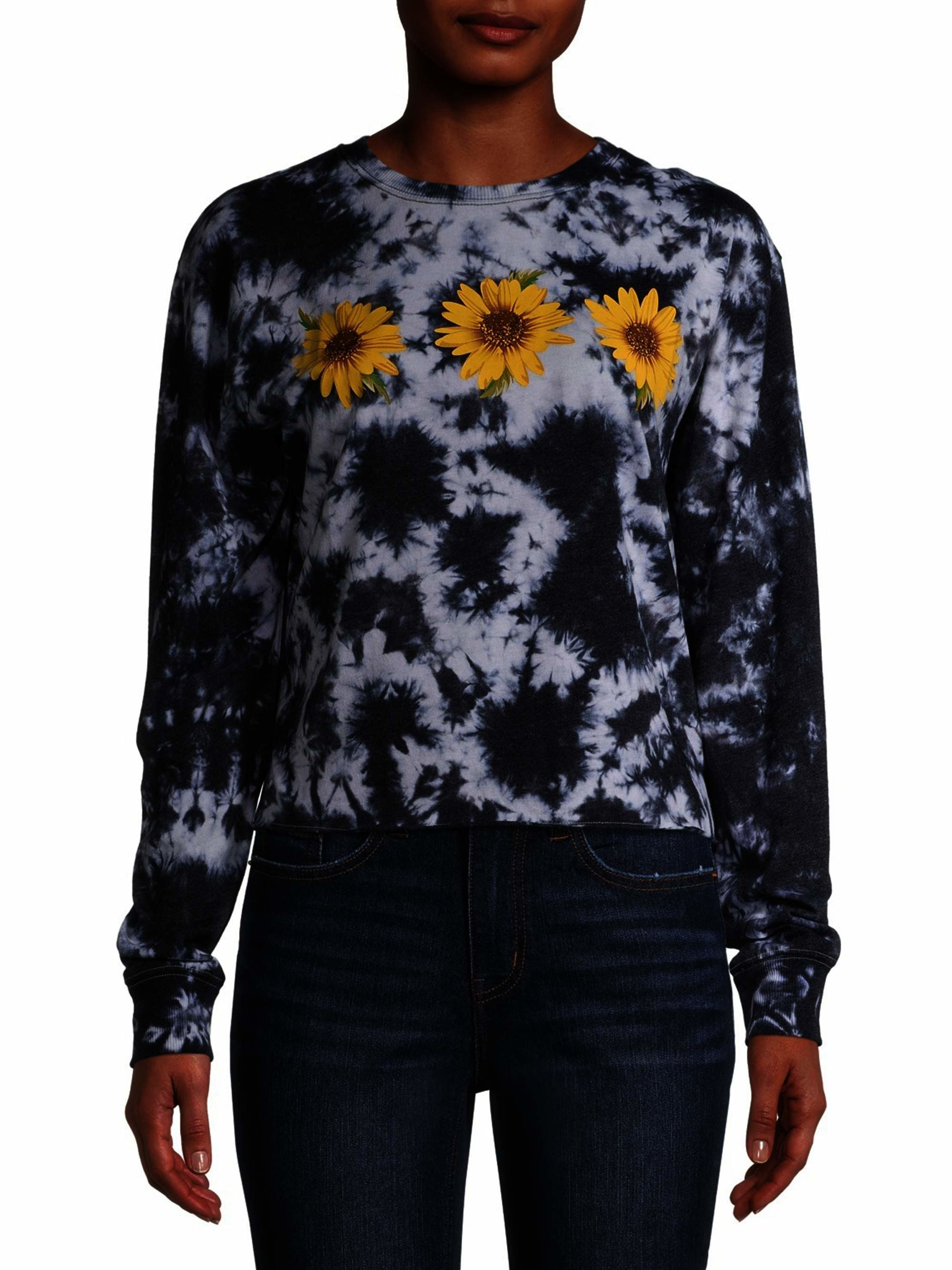 The black tie-dye shirt with three daisies across the chest