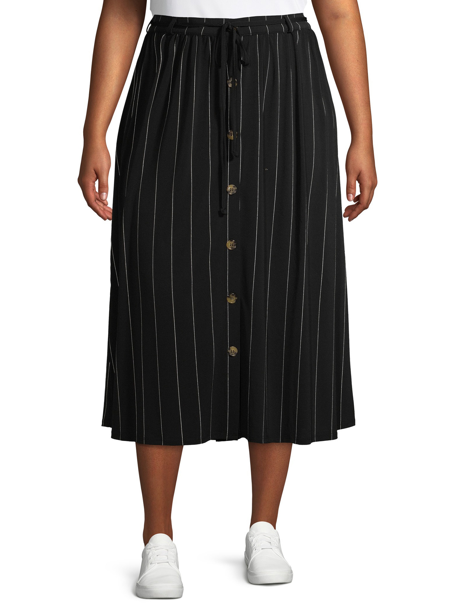 The pin-striped button-down midi skirt