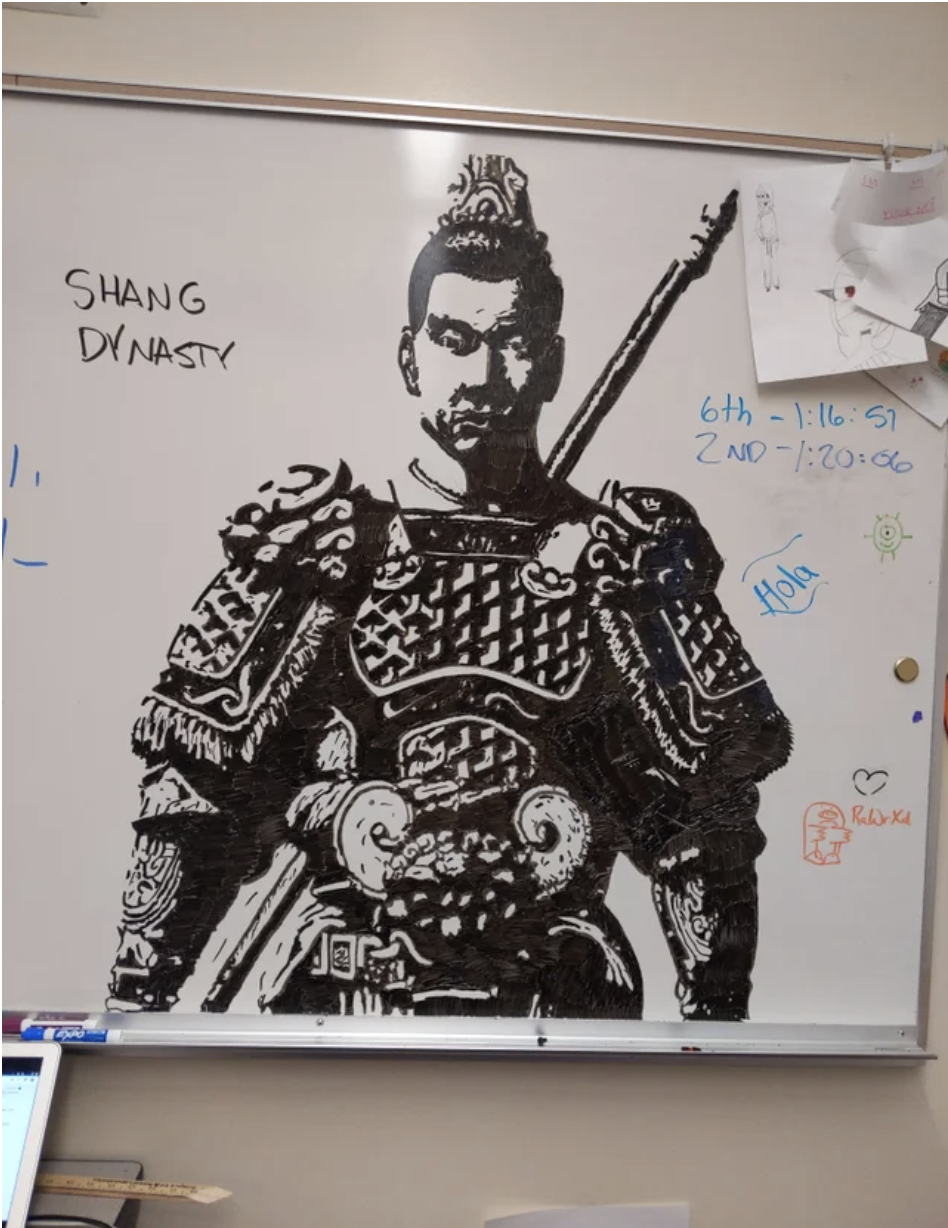 An incredible drawing of a historical Asian warrior