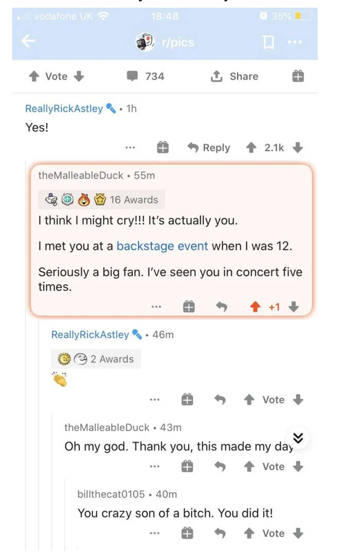 A Redditor tricks Rick Astley into following a link by saying it leads to a photo the two of them took together twenty years ago