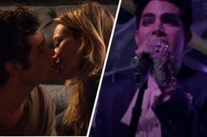Hilary Duff and Dan kissing on