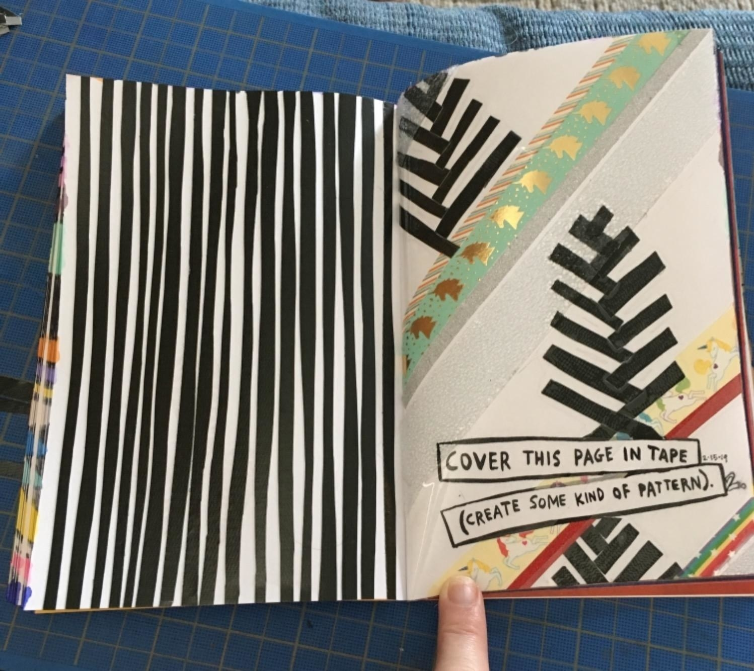 """Reviewer photo of a page of their journal with the prompt, """"cover this page in tape (create some kind of pattern)"""""""
