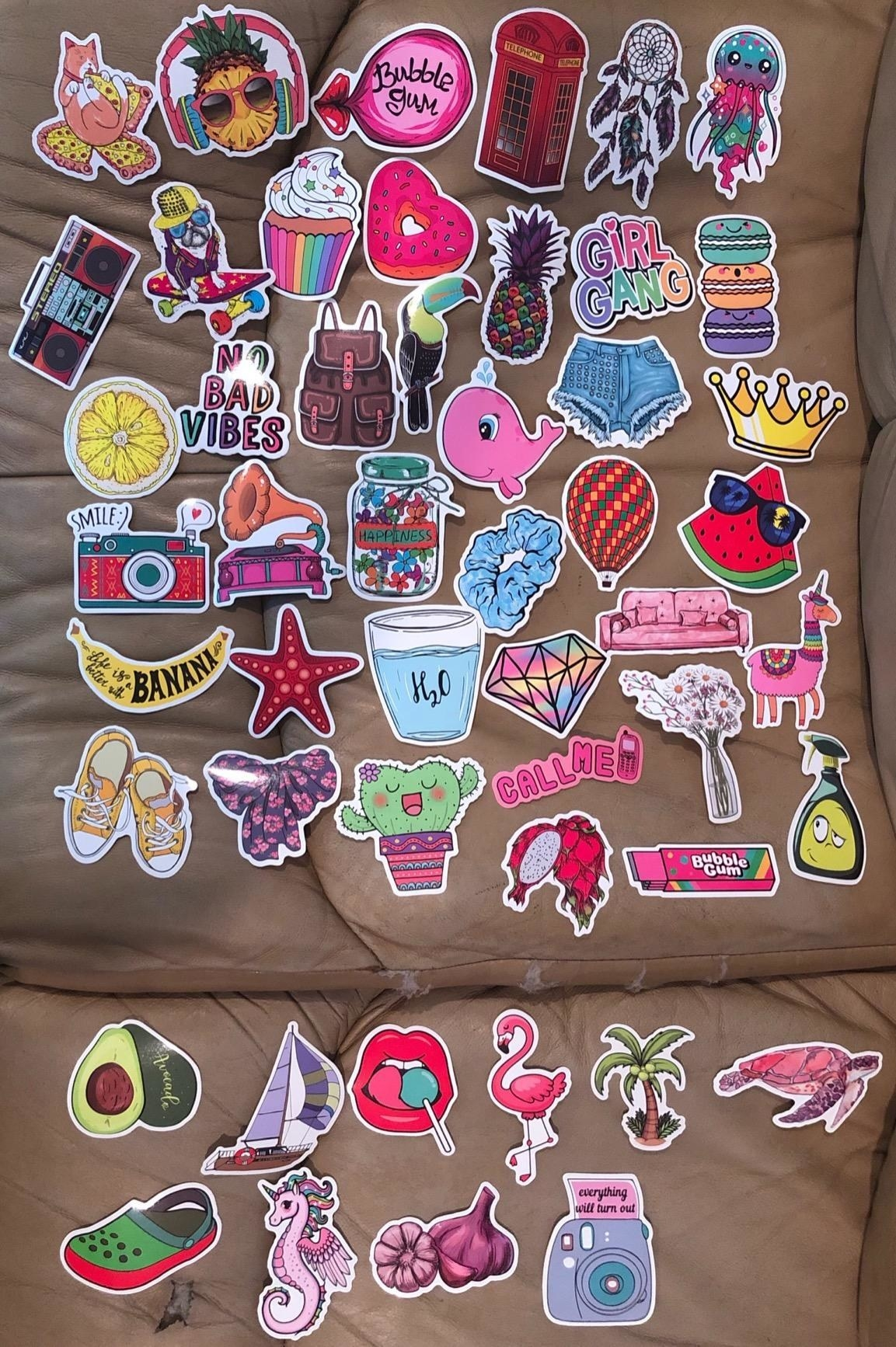 Reviewer photo of the stickers