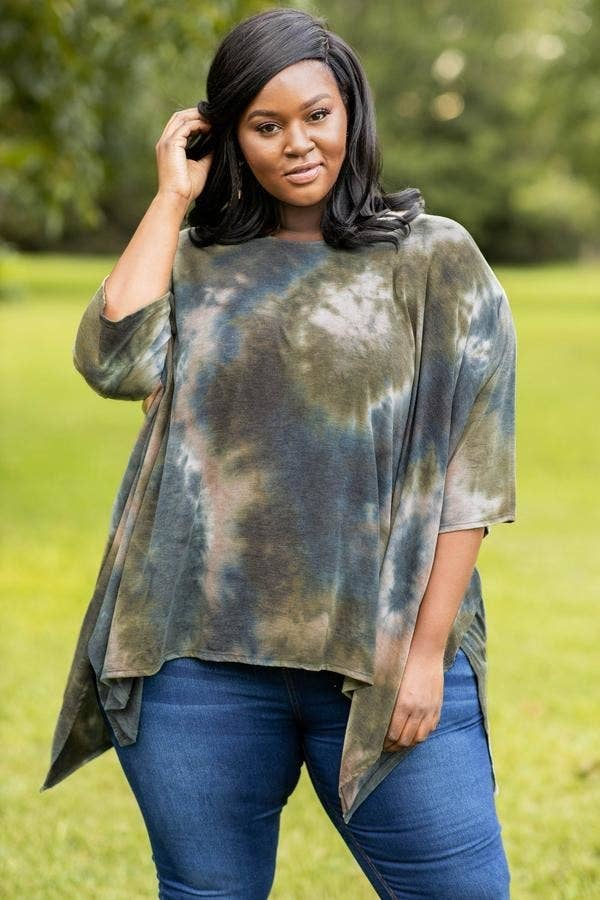model in olive green, dark blue, and tan tie-dye tee with pointed, asymmetrical edges
