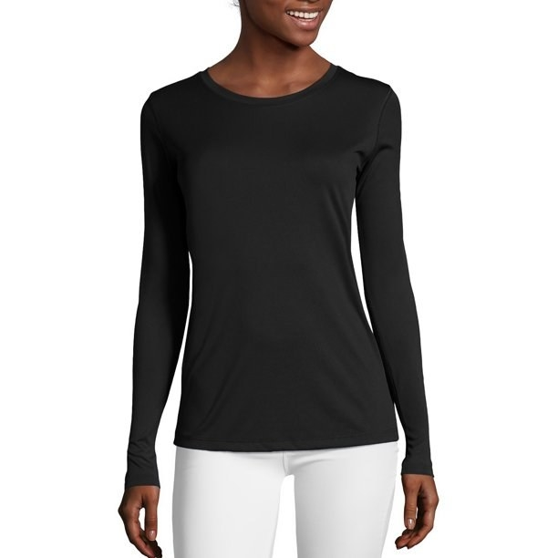 The plain black long-sleeve shirt