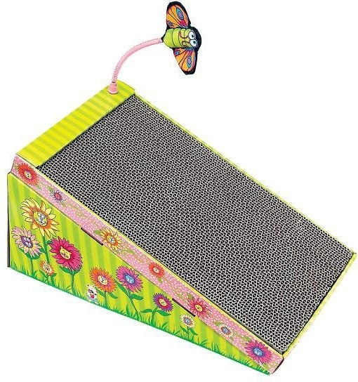 The cardboard floral ramp with a scratch front and a butterfly toy attachment