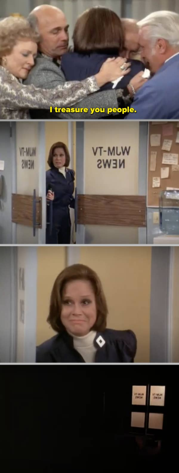 5. When Mary talked about how all of her coworkers had become her family, she turned off the lights in the newsroom for the last time before she left the studio in The Mary Tyler Moore Show. As a result, all of the show's episodes come to a perfect conclusion in this bittersweet and funny episode.