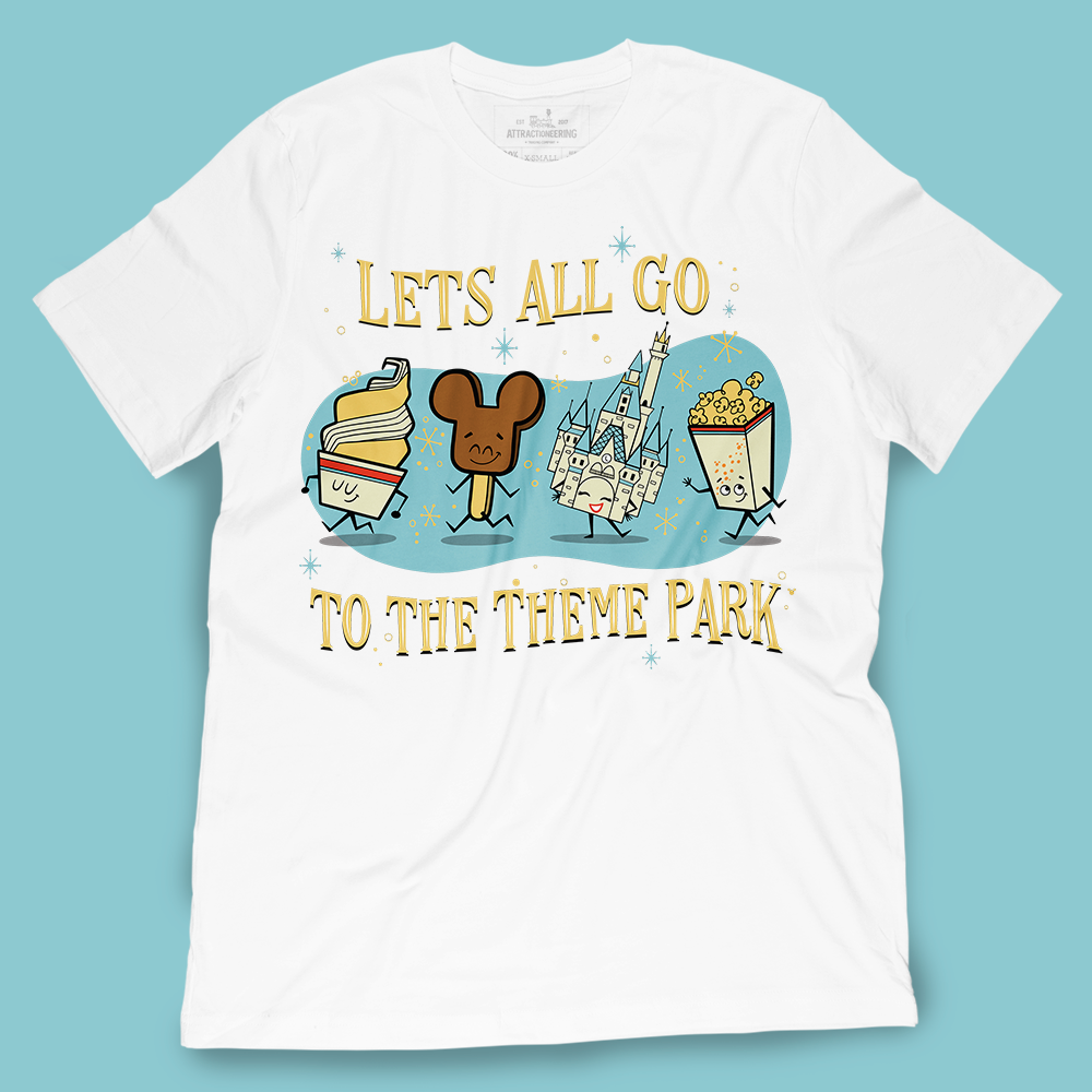 "tee that says ""let's all go to the theme park"" with smiling disney snacks"