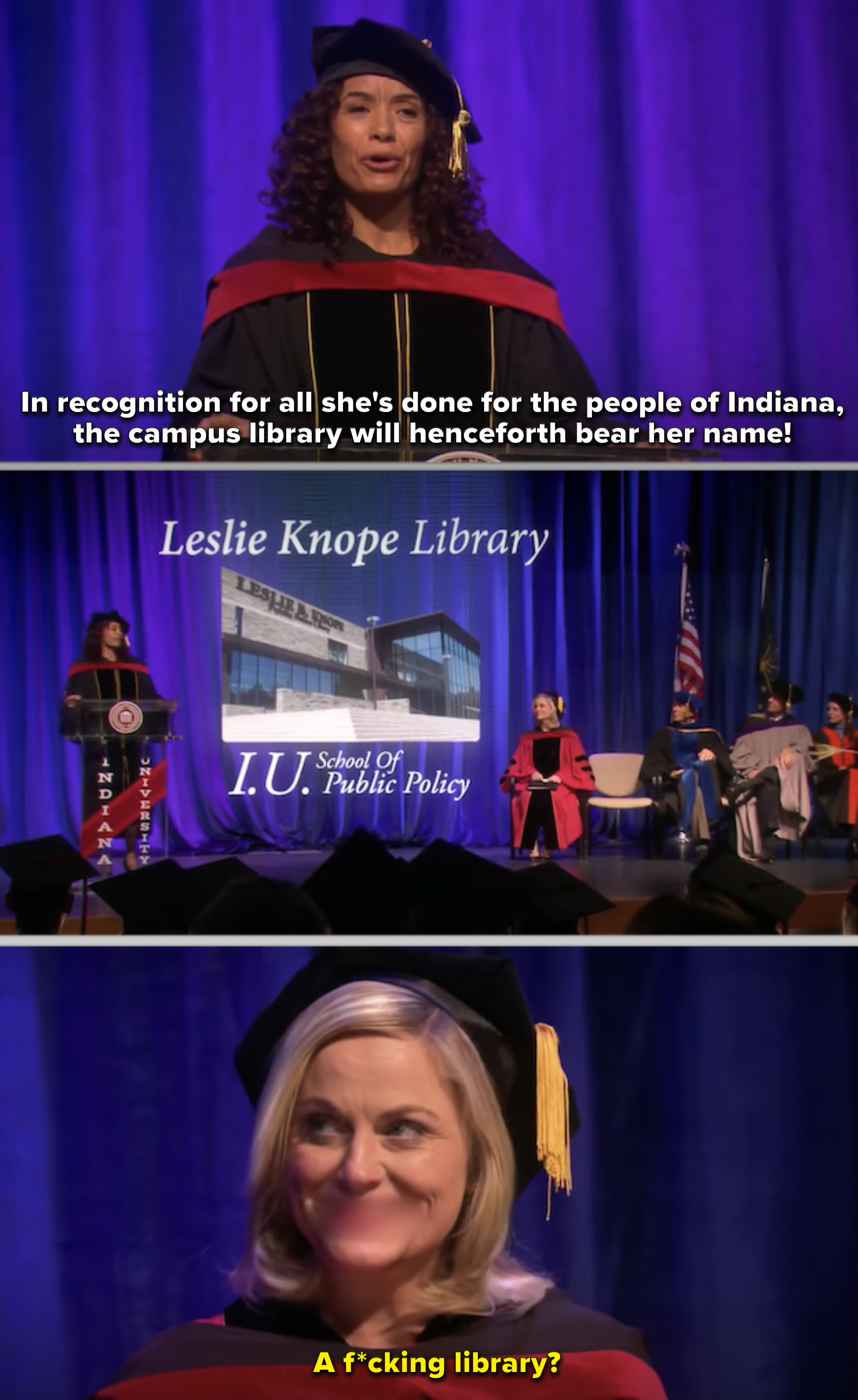 Leslie Knope giving a commencement address and being honored with a school library named after her