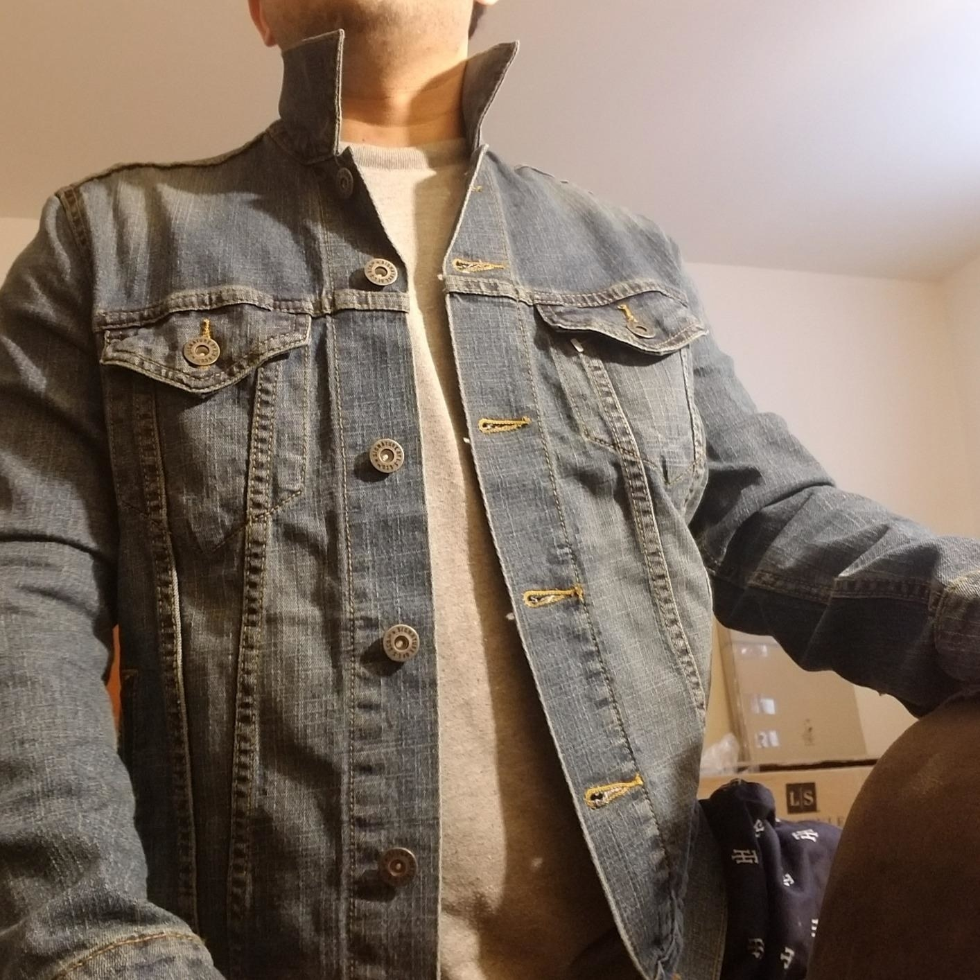 """Reviewer's photo of their 'Elvis"""" colored Levi's denim jacket"""