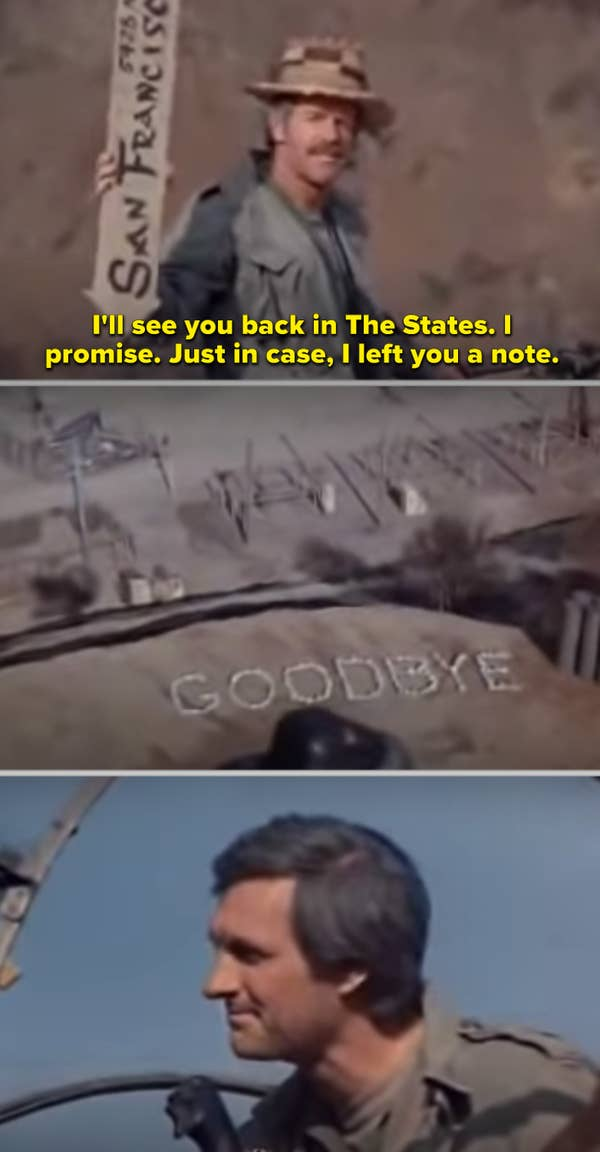 2. When the Korean War ended, and Hawkeye was riding away in the helicopter in M*A*S*H, he saw the note that B.J. left for him.