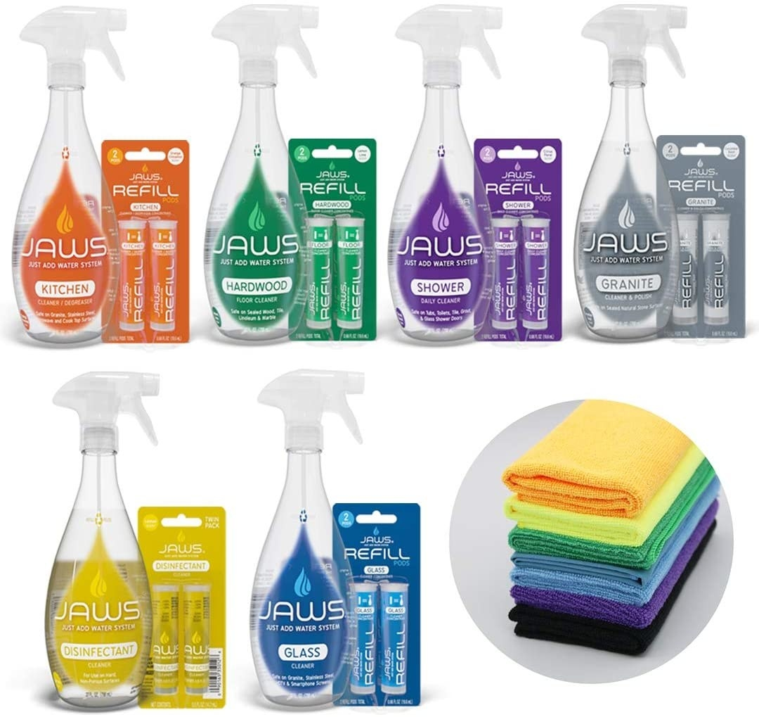 Jaws cleaning kit with different colored bottles for different cleaning jobs