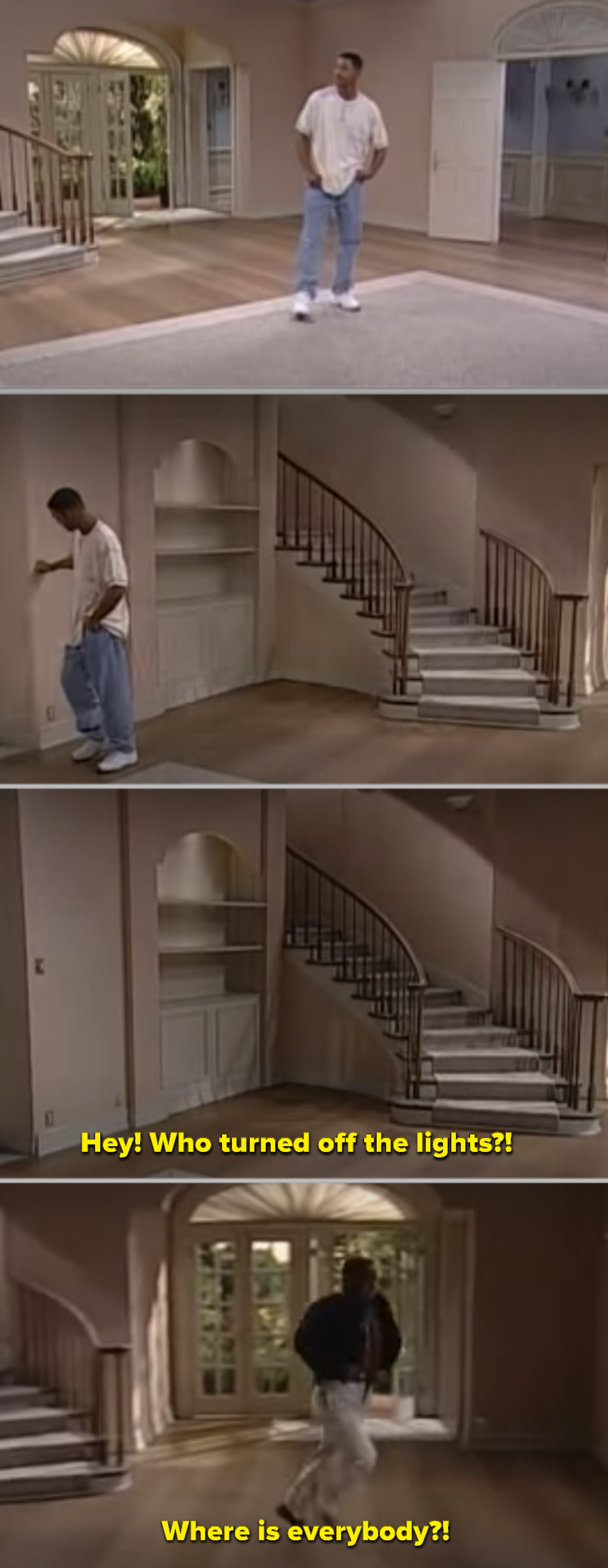 Will turning off the lights in the mansion, then Carlton running downstairs and realizing that everyone left without him