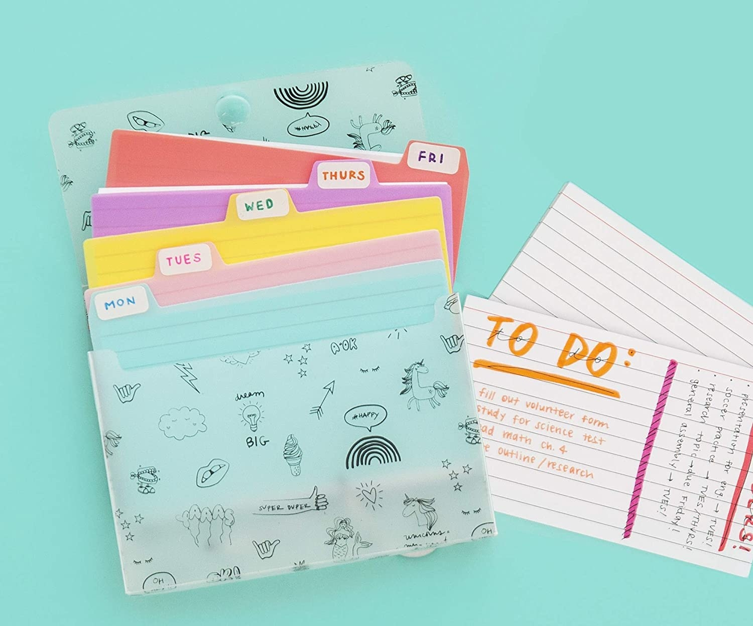 A index card case filled with index cards and dividers