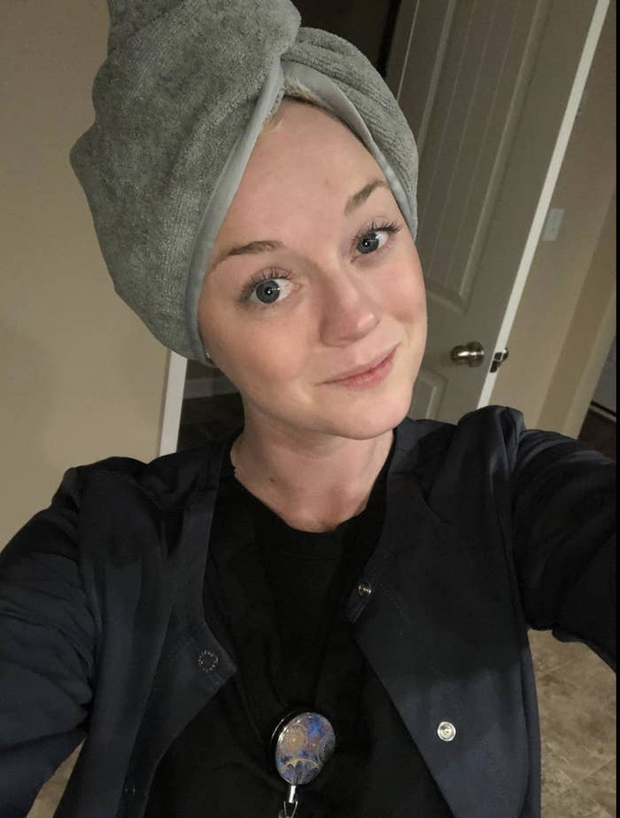Reviewer wearing the towel