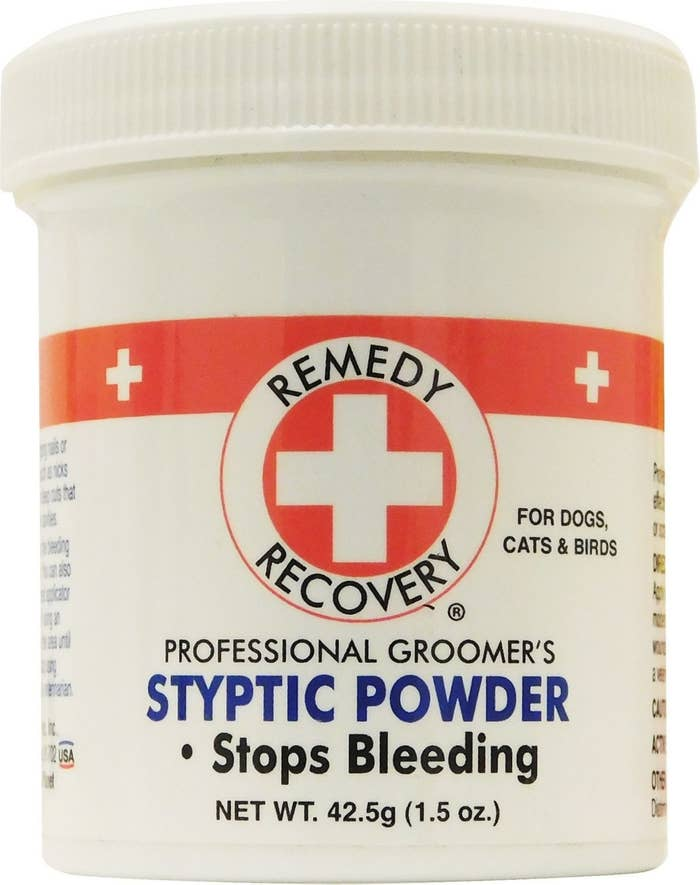 "A bottle of the powder that reads ""Remedy Recovery professional groomer's styptic powder stops bleeding"""