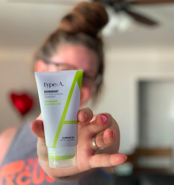 Reviewer photo showing type: A natural deodorant packaging