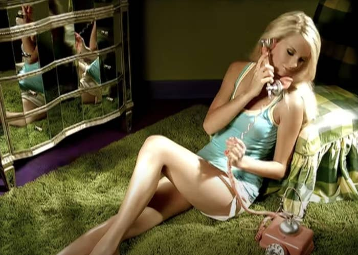 "Taylor on the phone from the ""Our Song"" music video"
