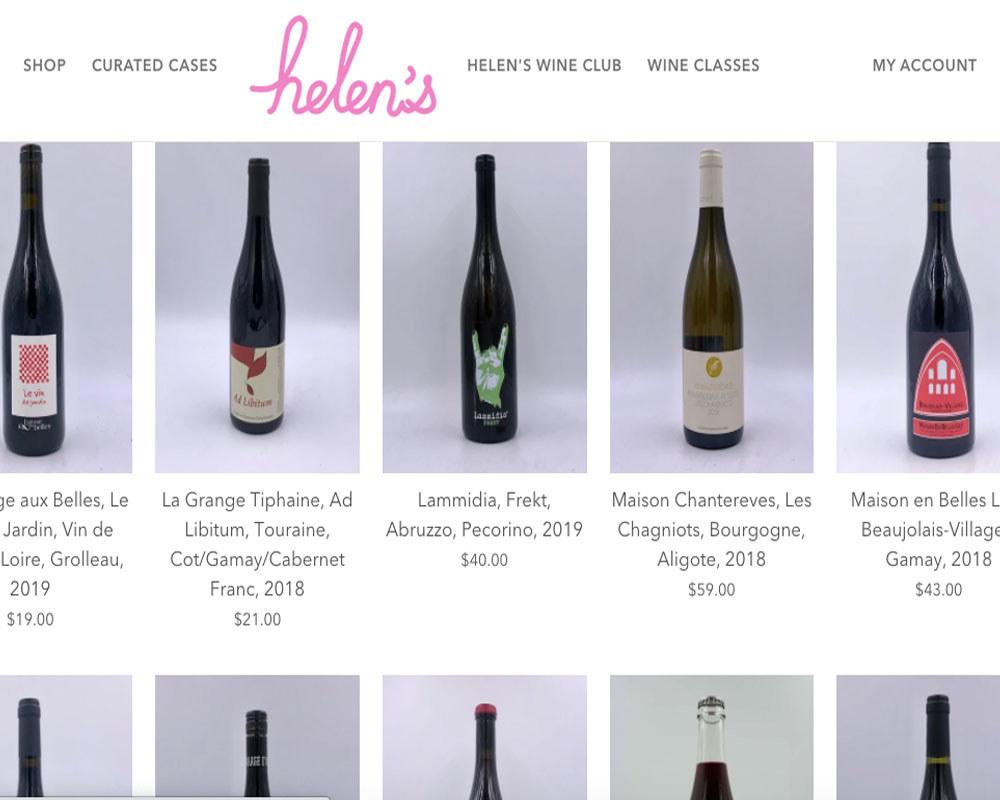 A screenshot of the bottle shop on Helen's website.