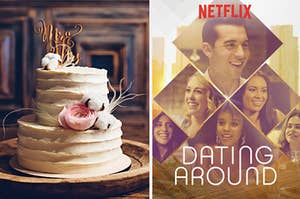 """A plain vanilla wedding cake on the left with Netflix's """"Dating Around"""" poster on the right"""
