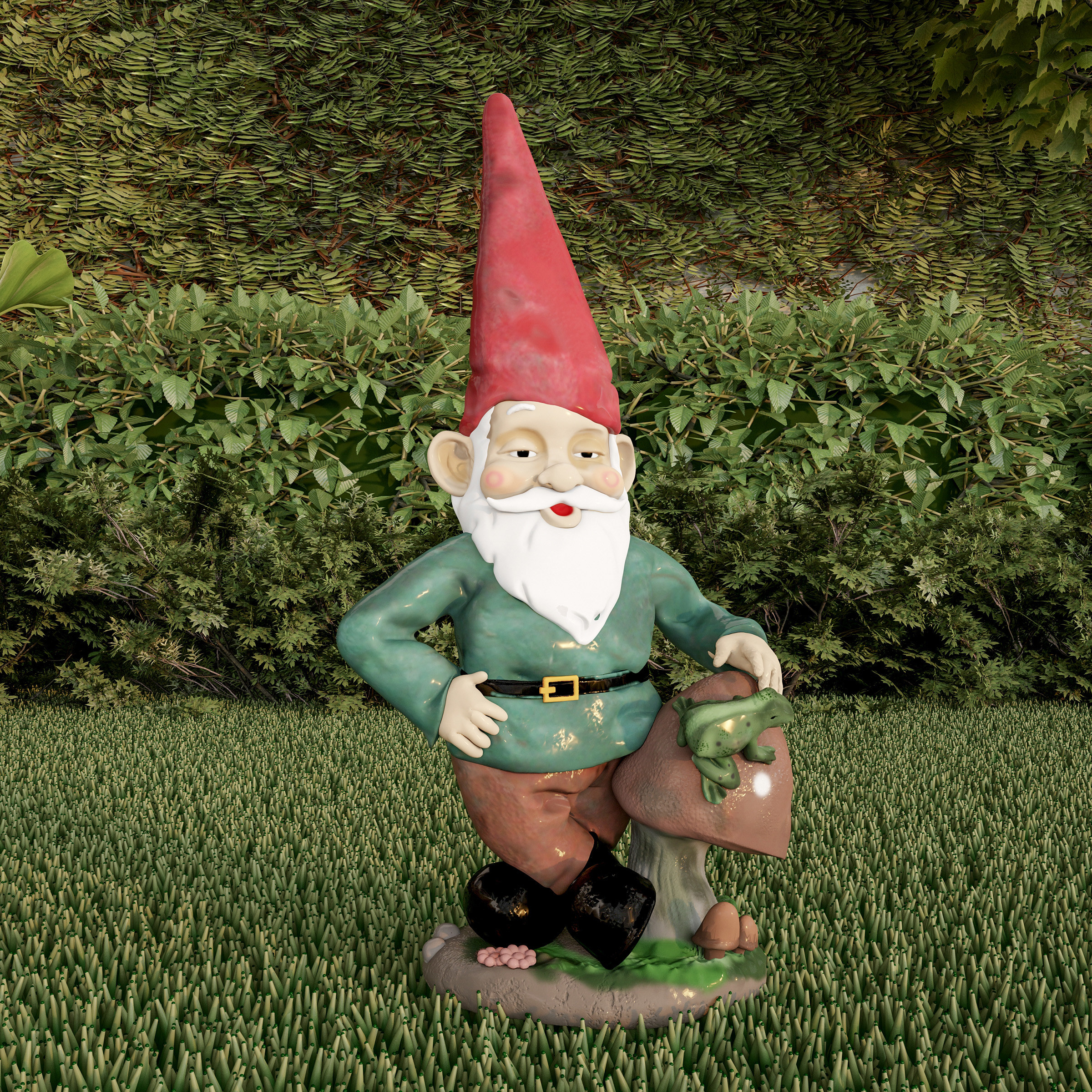 The classic style Pure Garden Lawn Gnome Statue in a front yard
