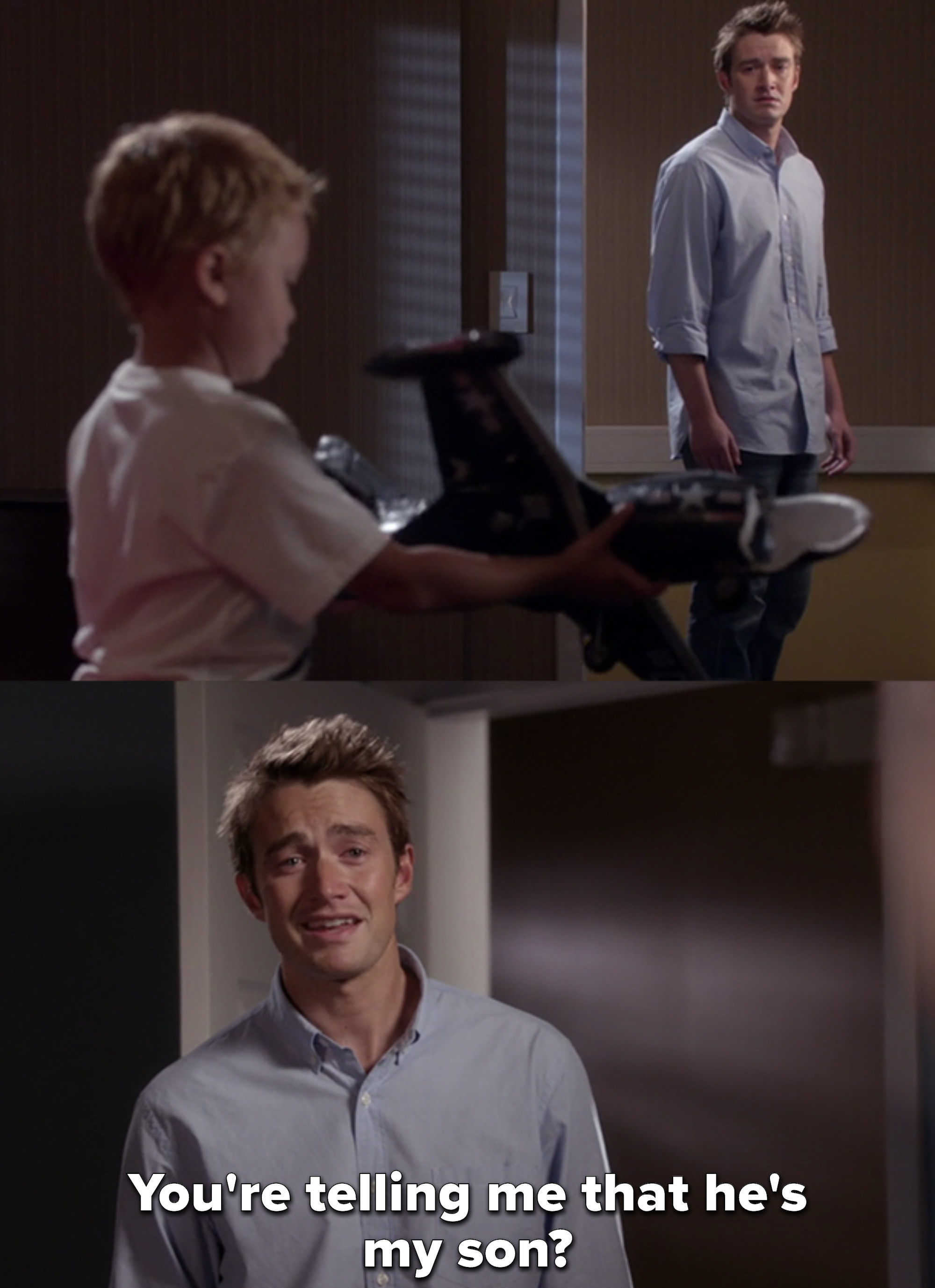 """Clay looking at Logan then saying """"You're telling me that he's my son?"""""""