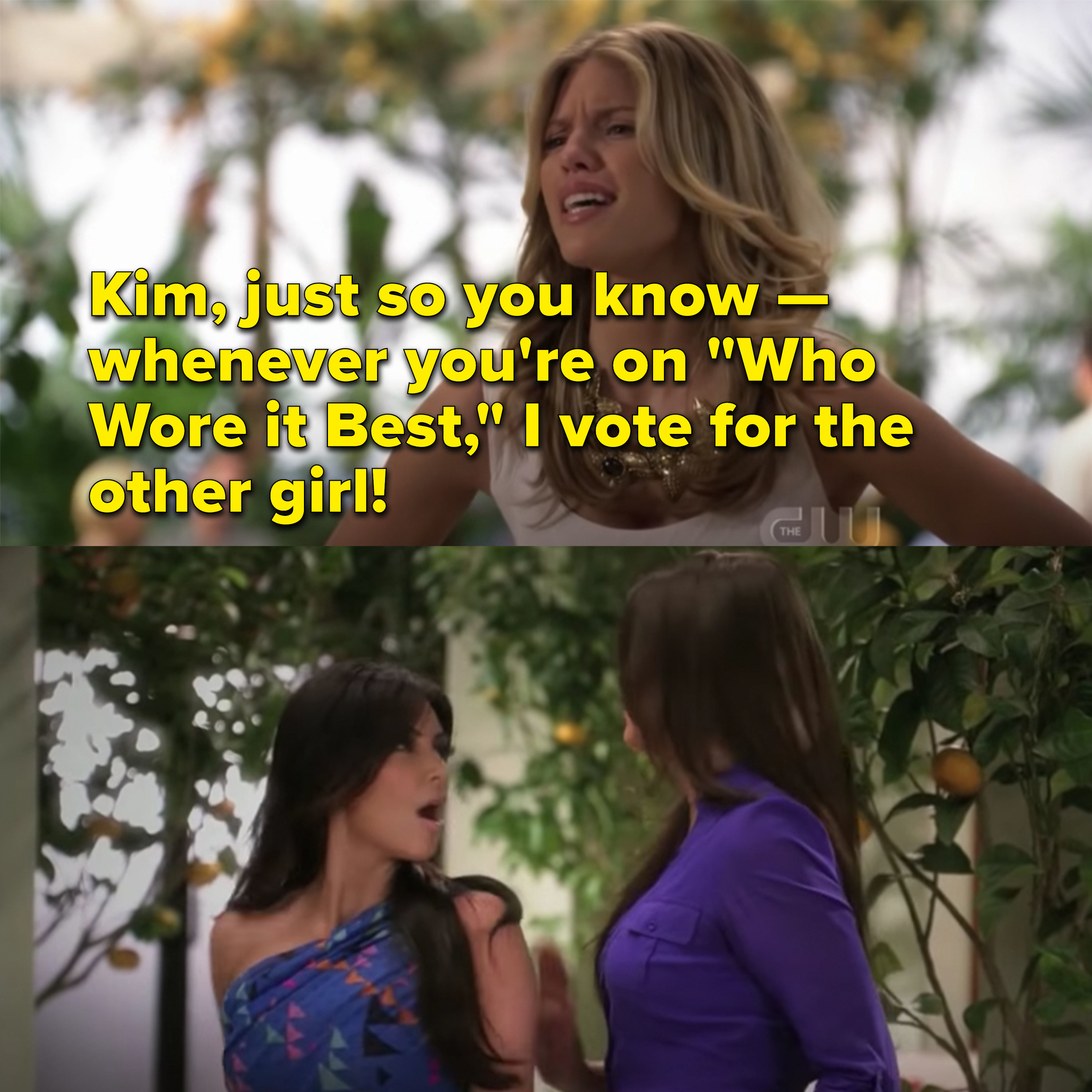 """Naomi tells Kim that whenever she's on """"Who Wore It Best"""" she votes for the other girl"""